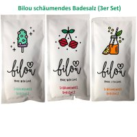 Bilou Badesalz Neuheiten Set: Cherry Pops, Orange Lemonade und Frosty Mint (3x80g)
