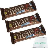 M&Ms Hi Proteinriegel Schokolade (3x51g Riegel) + usy...