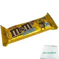 M&Ms Hi Proteinriegel Erdnuss (1x51g Riegel) + usy Block